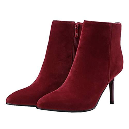 Casual Stiletto Women Short Sjjh Burgundy Boots OBFwHxgq