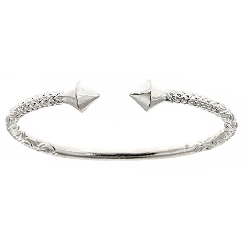 Thick Pyramid Ends .925 Sterling Silver West Indian Bangle (7.5