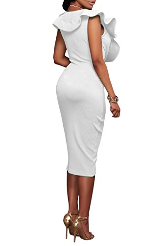 Bandage YMING Dress Neck White Deep Women Party Dress Bodycon Ruffle V Summer Midi A4q1wA0