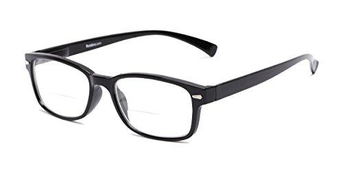 Hardy Glass (Readers.com   The Hardy Bifocal +2.00 Black Retro Square Stylish Men's & Women's Full Frame)