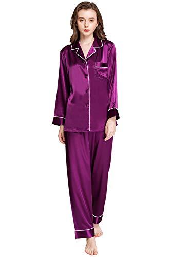 Womens Silk Satin Pajamas Set Purple 3XL (Silk Satin Pajama)