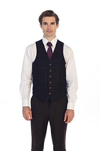 Purple Tweed - Gioberti Men's 6 Button Slim Fit Formal Herringbone Tweed Vest, Gridwork Dark Purple, X Large