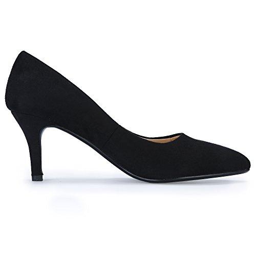 Pump IN3 Women's On Pointed Mid IDIFU Heel Dress Black Suede Toe Slip Classic 5vqxp