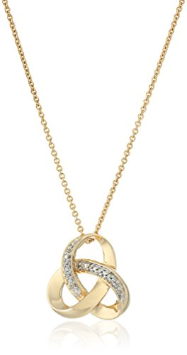 18K Yellow Gold over Sterling Silver Diamond Knot Pendant Necklace, 18