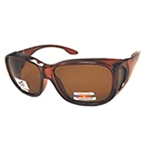 Men and Women Unisex Polarized Fit Over Sunglasses - Wear Over Prescription Glasses. Size Large. Brown (Carrying Case Included)