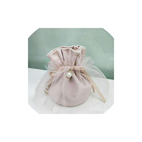 2019 Jewelry Gift Bags Wedding Favors and Gifts Box Sweet Candy Bag for Birthday Baby Shower Party Supplies,Light Pink with Yarn,9x12cm,10pcs