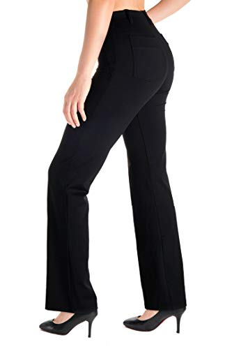 "Yogipace, Belt Loops, Women's Petite/Regular/Tall Dress Pant Bootcut Yoga Work Pants Slacks Trousers Back Pockets Office Commute Travel, 35"",Black,Size M"
