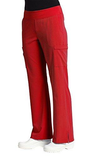 (Marvella by White Cross Women's Elastic Waist Yoga Scrub Pant Medium Tall Tango Red)