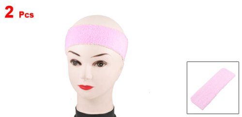 2 Pcs Lady Athletic Sports Light Pink Elastic Head Band Terry Sweatband