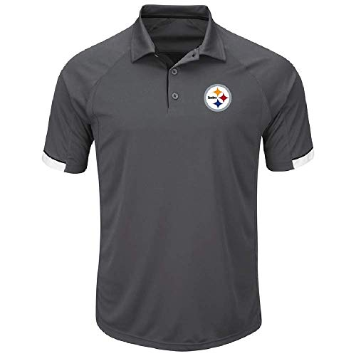 - Majestic Pittsburgh Steelers NFL Last Minute Win Men's Grey Short Sleeve Golf Polo Small