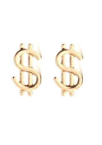 Dollar Sign Earrings Gold Tone Money Bling Wealth Studs EA20 Fashion ()