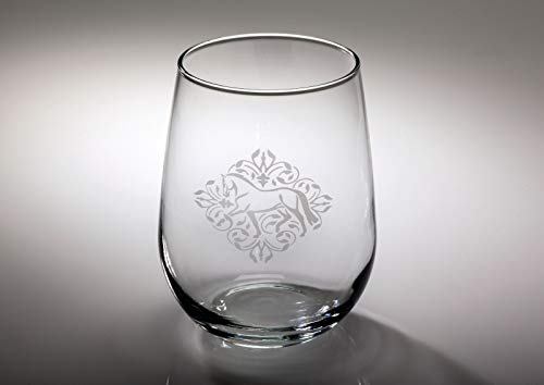 Kelley & Company Dressage Floral Etched Stemless Wine Glass 17oz (Etched Floral Wine Glasses)