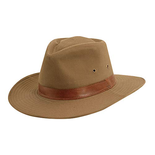 Dorfman Pacific Men's Twill Outback Hat,Bark,Medium - Cap Outback Hat