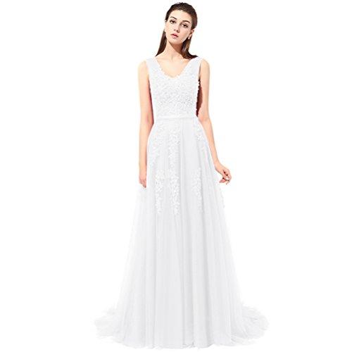 A Spitze Kleid Rueckenfrei Linie Schnuerung Aiyana Ivory Langes Chiffon Rueckenfrei Abendkleid Brautkleid zT1wzq