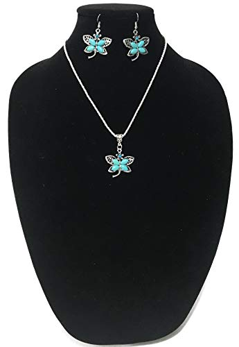 WE THE STYLE Vintage Style Imitation Turquoise Necklace and Ear Rings Fashion Jewelry Set (Butterfly Design)