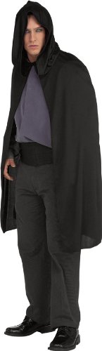 Costumes Black Cape (Rubie's Costume Hooded Cape 3/4 Length Costume, Black, One Size)