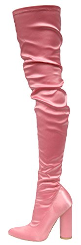Cape Robbin Women's Pointed Toe Round Heel Stretch Over the Knee Thigh High Boot (11 B(M) US, Pink) (Pink Thigh Boots)
