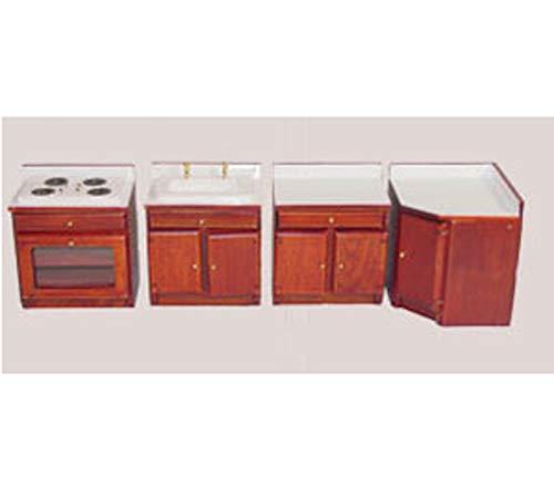(Dollhouse Miniature 1:12 Scale 4 Piece Cherry Kitchen)