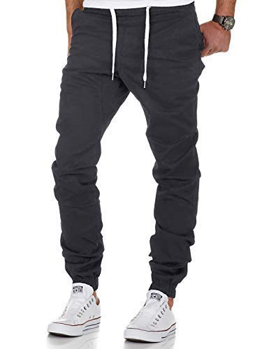 Yidarton Men's Chino Jogger Pants Sweatpants Sport Casual Drawstring Elasticated Waist Slim Fit Trousers