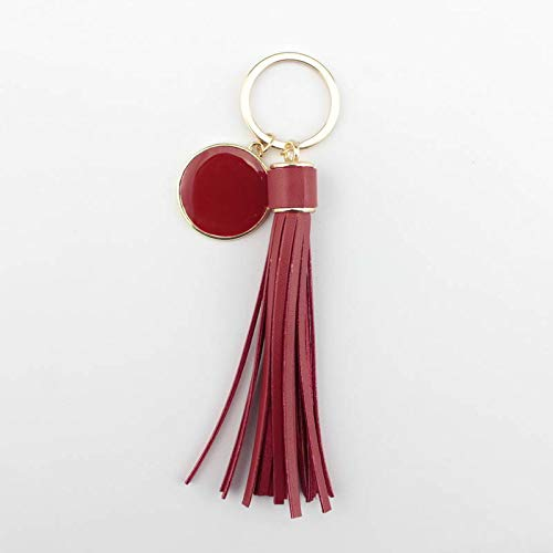 Key Chains - Leather Tassel Personalized Monogram Enamel Disc Blank Keychains - by YPT - 1 PCs