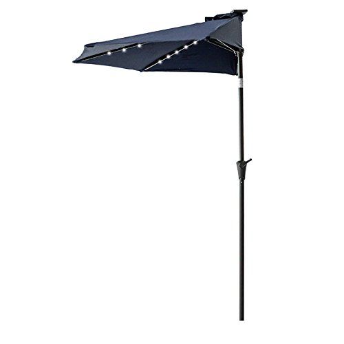 FLAME&SHADE 9′ LED Light Half Round Outdoor Parasol Patio Market Umbrella with Crank Lift, Push Button Tilt, Navy Blue