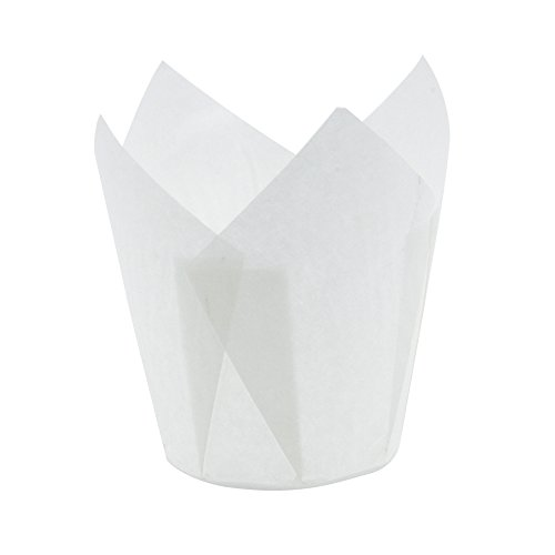 Tulip Cupcake Liner White Paper Baking Cups easy Release Muffin cup / No need To Spray Cup Perfect for Baking Muffins and Cupcakes,Extra Large Size: Tip H 3-1/2'' x 2'' ,(1000 pcs ) by Ecobake