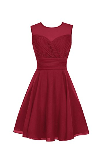 Tulle Womens Gown Homecoming Burgundy Bridesmaid Short Chiffon TalinaDress E063LF Dress qv7dEE