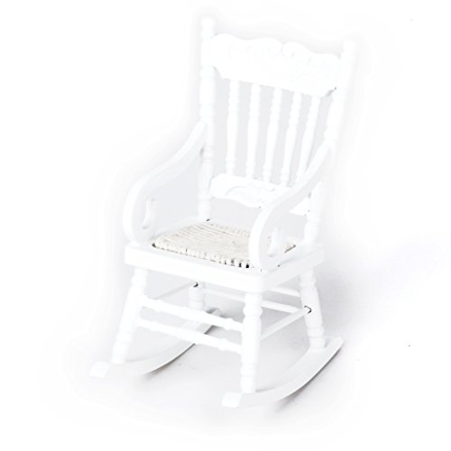 Gold Wing 1:12 Dollhouse Miniature Wooden Rocking Chair Model White