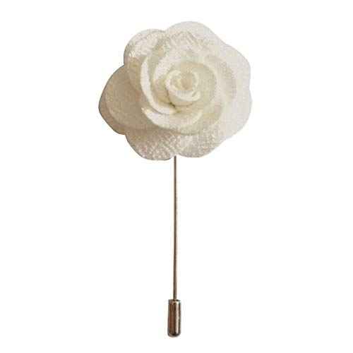 Sunny Home Men's Lapel Flower Stick Brooch Pin Boutonniere Pin for Suit Tuxedo Corsage (3.74in, White) ()