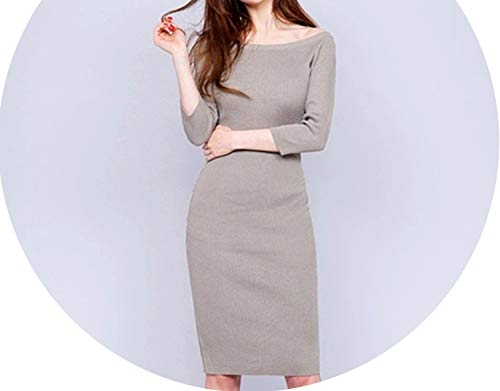 (Women Long Sleeve Knitted Button Dress Ladies Casual Sweater Korean Fall Office Lady)