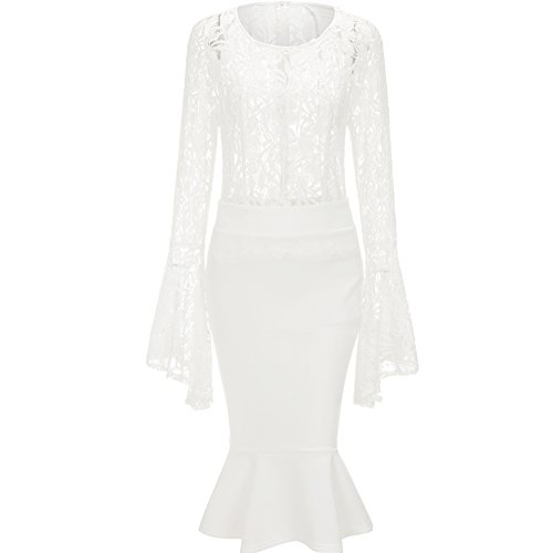 Bodycon4U Womens Ruffles Sexy Lace Shift Dress Bell Sleeve Top and Bodycon Mermaid Skirt Set White L (Dress Mermaid Piece Two)