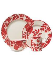 Martha Stewart Garnering Dinnerware, Orleans RED 4 Piece Place Setting