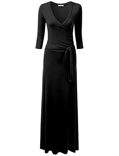 NINEXIS Women's V-Neck 3/4 Sleeve Waist Wrap Front Maxi Dress Black M ()