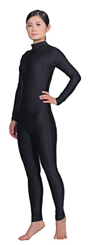 Speerise Adult High Neck Zip One Piece Unitard Full Body Leotard, XL, Black