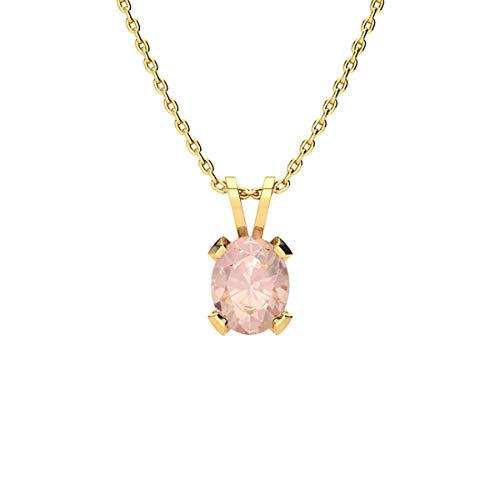 Sparkle Bargains Oval Shape Morganite Pendant Necklace - Gemstone Pendant Necklace | Available in Yellow Gold, Rose Gold and 925 Sterling Silver | for Women