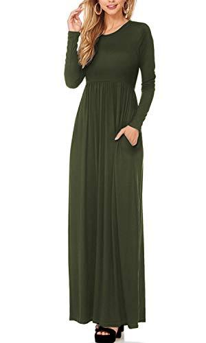 Women Long Sleeve Loose Plain Maternity Casual Long Maxi Dresses KDR47788X 8826 Olive 1X ()