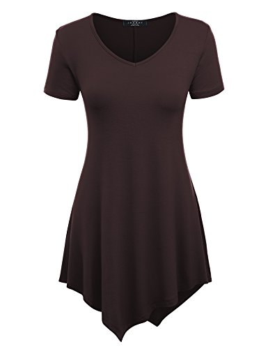 (Made By Johnny WT638 Womens Scoop Neck Trapeze Tunic XS Brown)