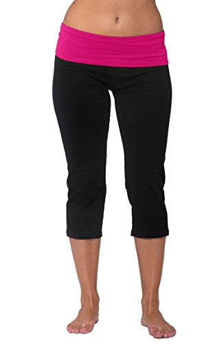 Roll Waist Yoga Pant (Nouveau Women's Workout Active Capri Yoga Pant with Contrasting Color Waistband Casual Loungewear - Black W. Pink, Small)