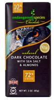Endangered Species Chocolate Natural Dark Chocolate with Sea Salt and Almonds Gluten Free -- 3 oz