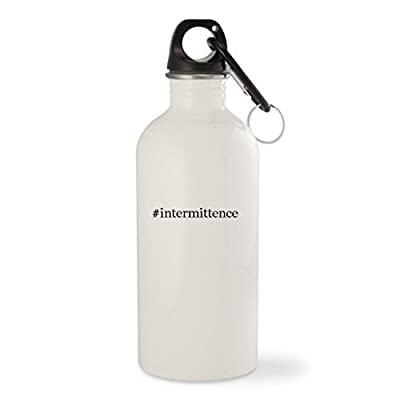 #intermittence - White Hashtag 20oz Stainless Steel Water Bottle with Carabiner