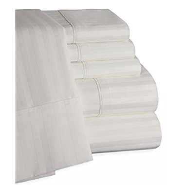 Egyptian Cotton Striped 6pc Bed Sheet Set - 450 Thread Count Deep Pocket Bed Sheets - 100% Egyptian Cotton Sateen (Queen, White)