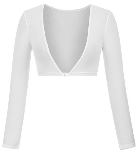 Kate Kasin Women's Summer Sexy Long Sleeve Crop Top Blouses - Summer White Dress Strapless