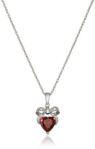 Diamond Bow Pendant Necklace (Sterling Silver Garnet and Diamond Accent Bow Heart Pendant Necklace, 18