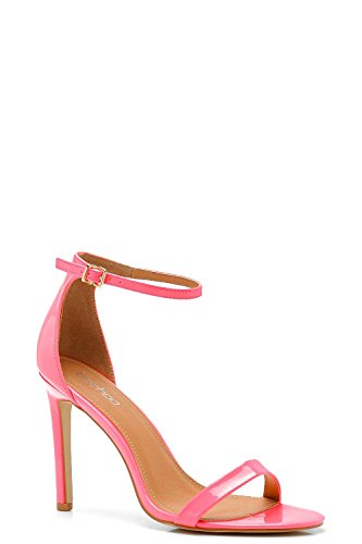 YourPrimeOutlet Womens Amy Neon Patent 2 Parts Heels Pink