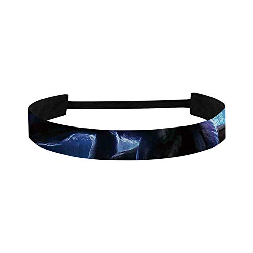 C COABALLA Fantasy World Simple Sports Headband,Surreal Werewolf with Electric Eyes in Full Moon Transformation Folkloric for Sports,15