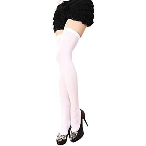 Esbelle Damen halterlose Strümpfe über Knie-Lang Kniestrümpfe Socke Frauen Strumpfhose Bunt (Weiß)