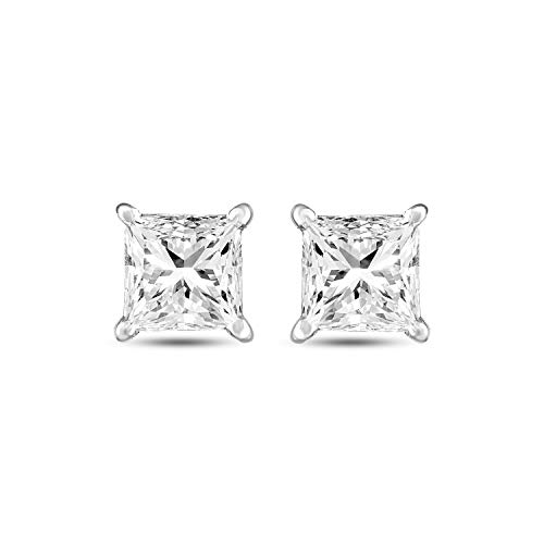 Charles & Colvard Moissanite Earrings Forever Brilliant Square 4.5mm 0.99 Carat Moissanite 14K White Gold Earrings for -