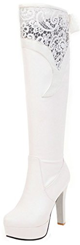 Boots High White Platform Knee (Mofri Women's Sexy Lace Splicing Round Toe Chunky High Heel Platform Pull on Knee High Boots (White, 8 B(M) US))