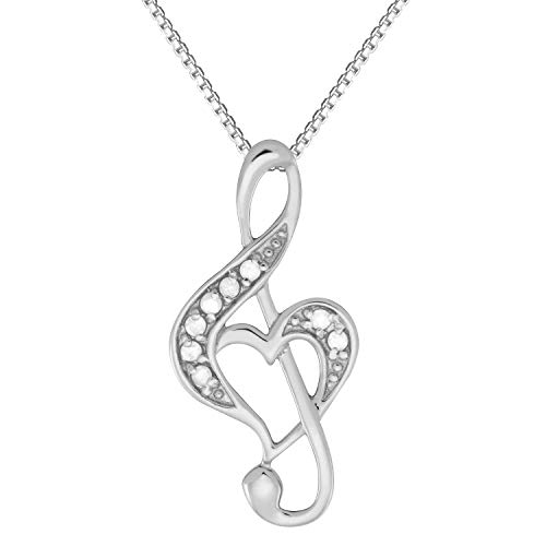 - JewelExclusive Sterling Silver .10 cttw Diamond Treble Clef Heart Music Pendant 18