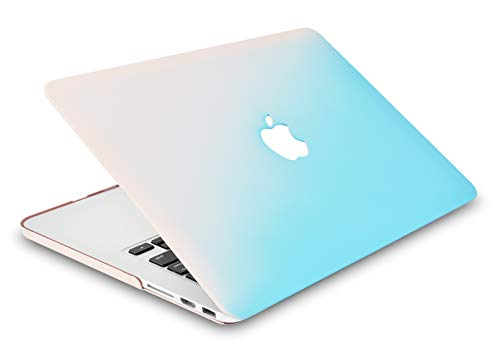 "KECC Laptop Case for MacBook Air 13"" w/Keyboard Cover Plastic Hard Shell Case A1466/A1369 2 in 1 Bundle (Pale Pink Blue)"